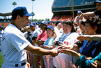 Jim Eisenreich of the Los Angeles Dodgers participates in a Major League Baseball game at Dodger Stadium during the 1998 season in Los Angeles, California. (Larry Goren/Four Seam Images)