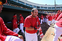 TEMPE - MARCH 14:  Kendry Morales of the Los Angeles Angels of Anaheim jokes with teammates in the dugout during a spring training game against the Chicago Cubs on March 14, 2010 at Tempe Diablo Stadium in Tempe, Arizona. (Photo by Brad Mangin)