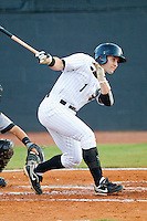 Drew Lee #1 of the Bristol White Sox follows through on his swing against the Greeneville Astros at Boyce Cox Field July 1, 2010, in Bristol, Tennessee.  Photo by Brian Westerholt / Four Seam Images