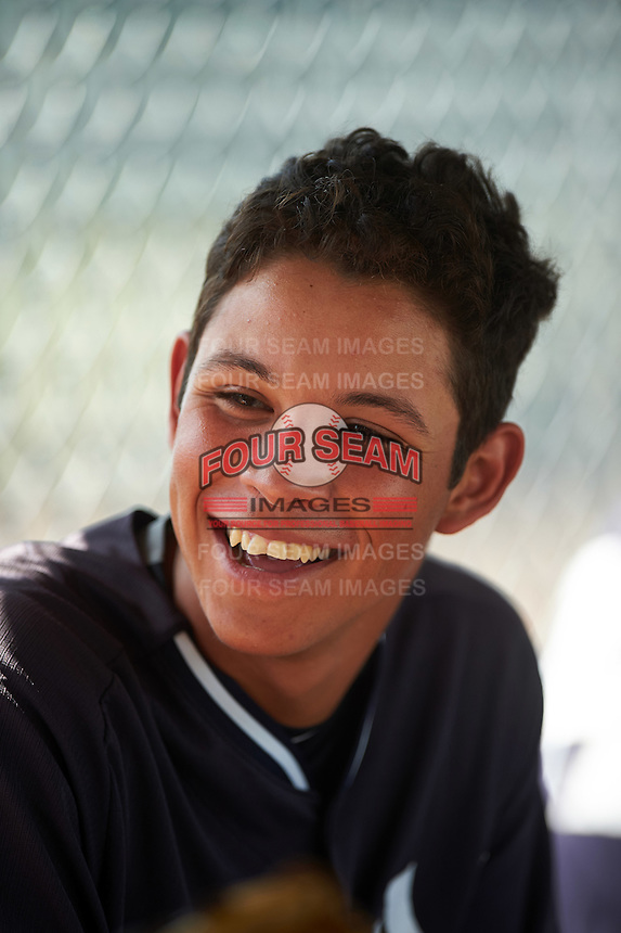 GCL Yankees East Miguel Yajure (31) in the dugout during a game against the GCL Yankees West on August 3, 2016 at the Yankees Complex in Tampa, Florida.  GCL Yankees East defeated GCL Yankees West 12-2.  (Mike Janes/Four Seam Images)