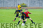 Paddy McMahon, Tralee Dynamos contests for the ball with Limericks Annacotty FC Conor Gavin, when the sides met at Cahermoneen, Tralee last Saturday in the first round of the U13 National Cup.