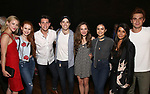 "Lili Reinhart. Madelaine Petsch, Casey Cott, Corey Cott, Laura Osnes, Camila Mendes, Marisol Nichols, KJ Apa backstage at Broadway's ""Bandstand"" at the Bernard Jacobs Theate on May 19, 2017 in New York City."