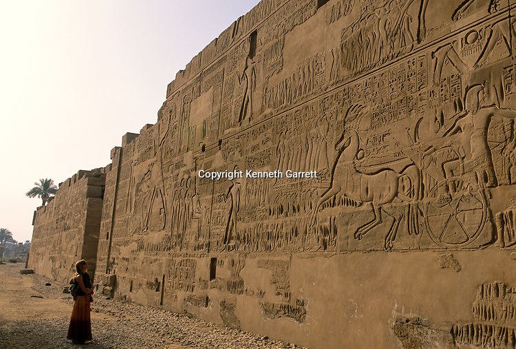 North wall of Karnak Temple, Relief of Ramses II in the battle at Kadesh with the Hittites in 1274 B.C. , New Kingdom, Egypt