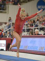 NWA Democrat-Gazette/ANDY SHUPE<br /> Arkansas' Sarah Shaffer Saturday, Jan. 5, 2019, competes in the vault during the Razorbacks' meet with No. 2 Oklahoma in Barnhill Arena in Fayetteville. Visit nwadg.com/photos to see more photographs from the meet.