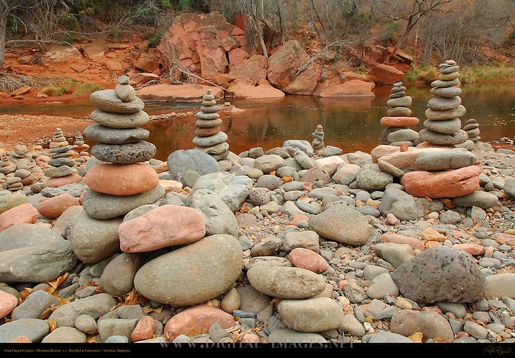 Oak Creek Cairns, Buddha Beach, Red Rock Crossing, Sedona, Arizona