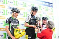 INLINE-SKATEN: STEENWIJK: Gagelsweg (start/finish), Schansweg, Meppelerweg, KPN Inline Cup, Klim van Steenwijk, 02-05-2012, Eindpodium Dames, Manon Kamminga (#88), Sabine Berg (#118), Lisanne Buurman (#267), ©foto Martin de Jong