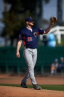 Lancaster JetHawks relief pitcher Bryan Baker (33) during a California League game against the Inland Empire 66ers at San Manuel Stadium on May 20, 2018 in San Bernardino, California. Inland Empire defeated Lancaster 12-2. (Zachary Lucy/Four Seam Images)