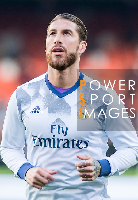 Sergio Ramos of Real Madrid in training prior to the La Liga match between Valencia CF and Real Madrid at the Estadio de Mestalla on 22 February 2017 in Valencia, Spain. Photo by Maria Jose Segovia Carmona / Power Sport Images