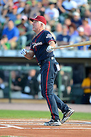 Hall of Fame third baseman Mike Schmidt #20 at bat during the MLB Pepsi Max Field of Dreams game on May 18, 2013 at Frontier Field in Rochester, New York.  (Mike Janes/Four Seam Images)