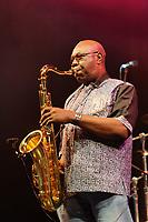 Camaroonian saxophonist, Manu Diabango performing at the Womad Fetsival, Malmesbury, UK on July 25, 2014<br /> TOMLINS paul- DALLE