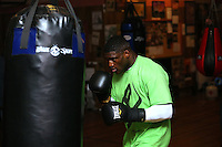 Izu Ugonoh during a training session prior  to Joseph Parker's fight against WBO African Champion and world number 13 Australian Bowie Tupou at ILT Stadium Southland on August 1st, Invercargill, New Zealand, Thurssday, July 30, 2015. Credit:NINZ / Dianne Manson