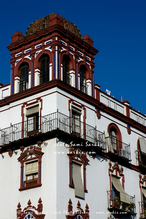 View of traditional building on Menendez Pelayo Avenue, Seville, Andalusia, Spain.
