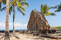 Thatched hut temple  model in Pu'uhonua o Honaunau place of refuge national historical park, Big Island, Hawaii