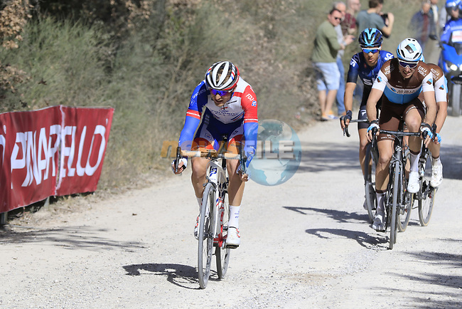 The breakaway Leo Vincent (FRA) Groupama-FDJ, Alexandre Geniez (FRA) AG2R La Mondiale and teammate Nico Denz (GER) and Diego Rosa (ITA) Team Sky on sector 3 Radi during Strade Bianche 2019 running 184km from Siena to Siena, held over the white gravel roads of Tuscany, Italy. 9th March 2019.<br /> Picture: Eoin Clarke | Cyclefile<br /> <br /> <br /> All photos usage must carry mandatory copyright credit (© Cyclefile | Eoin Clarke)