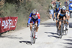 The breakaway Leo Vincent (FRA) Groupama-FDJ, Alexandre Geniez (FRA) AG2R La Mondiale and teammate Nico Denz (GER) and Diego Rosa (ITA) Team Sky on sector 3 Radi during Strade Bianche 2019 running 184km from Siena to Siena, held over the white gravel roads of Tuscany, Italy. 9th March 2019.<br /> Picture: Eoin Clarke | Cyclefile<br /> <br /> <br /> All photos usage must carry mandatory copyright credit (&copy; Cyclefile | Eoin Clarke)