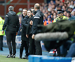 11.11.18 Rangers v Motherwell: Rangers and Motherwell benches arguing before Stephen Robinson's dismissal