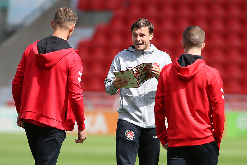 Fleetwood players and staff are all smiles before kick off<br /> <br /> Photographer David Shipman/CameraSport<br /> <br /> The EFL Sky Bet League One - Doncaster Rovers v Fleetwood Town - Saturday 17th August 2019  - Keepmoat Stadium - Doncaster<br /> <br /> World Copyright © 2019 CameraSport. All rights reserved. 43 Linden Ave. Countesthorpe. Leicester. England. LE8 5PG - Tel: +44 (0) 116 277 4147 - admin@camerasport.com - www.camerasport.com
