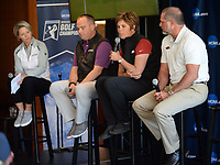 NWA Democrat-Gazette/ANDY SHUPE<br /> Shauna Taylor (center), Arkansas women's golf coach, speaks Tuesday, April 9, 2019, alongside Lisa Cornwell (from left), former Fayetteville High School and Arkansas golfer and current Golf Channel anchor, Brandt Packer, lead Golf Channel tournament producer, and Brad McMakin, Arkansas men's golf coach, during a press conference to announce the details of the NCAA Men's and Women's Golf Nation Championship at Blessings Golf Club in Johnson.