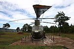 A CH-47 Chinook helicopter left over from the Vietnam War sits on display at the former U.S. Marine base at Khe Sanh, Vietnam. April 24, 2013.