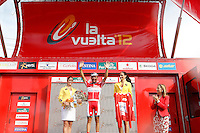 Joaquin Rodriguez with the red jersey of leader in the presence of the Minister of Fomento (Public Works) Ana Pastor (r) after the stage of La Vuelta 2012 between Ponteareas and Sanxenxo.August 28,2012. (ALTERPHOTOS/Acero) /NortePhoto.com<br /> <br /> **CREDITO*OBLIGATORIO** <br /> *No*Venta*A*Terceros*<br /> *No*Sale*So*third*<br /> *** No*Se*Permite*Hacer*Archivo**<br /> *No*Sale*So*third*