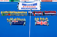 2nd February 2020; Sydney Olympic Park, Sydney, New South Wales, Australia; International FIH Field Hockey, Australia versus Great Britain; Australia and Great Britain line up before the match