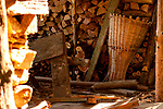 Wood shed with a traditional basket used to collect hey, in the small mountain town of Carcente on Lake Como, Italy
