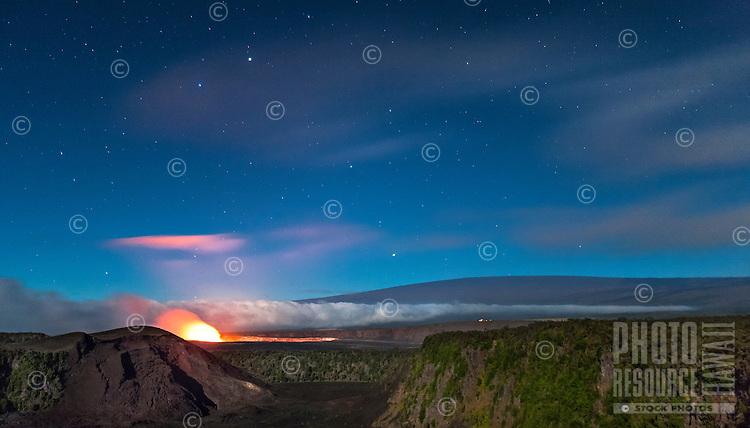 The glow of lava at night, Halema'uma'u Crater, Hawai'i Volcanoes National Park, Big Island.