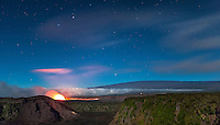 The glow of lava at night, Halema'uma'u Crater, Hawai'i Volcanoes National Park, Big Island.