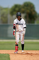 GCL Marlins Victor Mesa Jr. (9) after hitting a double off the fence during a Gulf Coast League game against the GCL Cardinals on August 12, 2019 at the Roger Dean Chevrolet Stadium Complex in Jupiter, Florida.  GCL Marlins defeated the GCL Cardinals 9-2.  (Mike Janes/Four Seam Images)