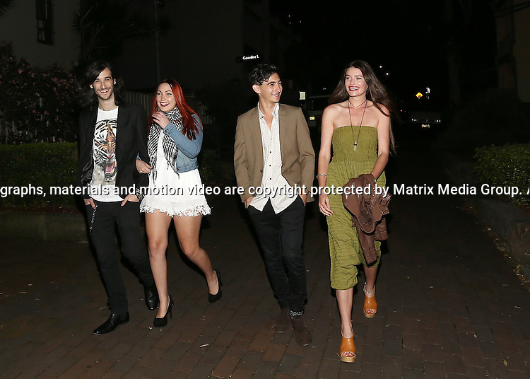 19 JUNE 2014 SYDNEY AUSTRALIA<br /> <br /> EXCLUSIVE <br /> <br /> Joel Madden's team from The Voice Australia including Frank Lakoudis, Taila Gouge,Isaac McGovern and Holly Tapp pictured at Portino Restaurant in Surry Hills. <br /> <br /> *No internet without clearance*.MUST CALL PRIOR TO USE +61 2 9211-1088. Matrix Media Group.Note: All editorial images subject to the following: For editorial use only. Additional clearance required for commercial, wireless, internet or promotional use.Images may not be altered or modified. Matrix Media Group makes no representations or warranties regarding names, trademarks or logos appearing in the images.