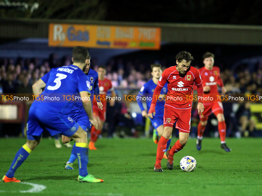 Ed Upson of MK Dons in possession during AFC Wimbledon vs MK Dons, Sky Bet EFL League 1 Football at the Cherry Red Records Stadium on 14th March 2017