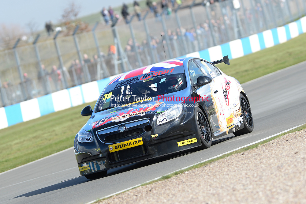 2014 BTCC Media Day. Donington Park, Derby, United Kingdom. 18th March 2014. #39 Warren Scott (GBR) - Chrome Edition Restart Racing Vauxhall Insignia.