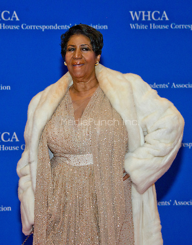 Aretha Franklin arrives for the 2016 White House Correspondents Association Annual Dinner at the Washington Hilton Hotel on Saturday, April 30, 2016.<br /> Credit: Ron Sachs / CNP<br /> (RESTRICTION: NO New York or New Jersey Newspapers or newspapers within a 75 mile radius of New York City)/MediaPunch