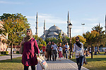 The Sultan Ahmed Mosque in Istanbul, popularly known as the Blue Mosque for the blue tiles adorning the walls of its interior..It was built from 1609 to 1616, during the rule of Ahmed I and while still used as a mosque it has also become a popular tourist attraction..Istanbul 7 June 2012