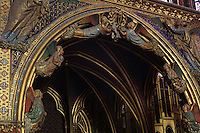 Detail of the reliquary adorned with angels, built on the pattern of the chapel, Upper chapel of La Sainte-Chapelle (The Holy Chapel), 1248, Paris, France. La Sainte-Chapelle was commissioned by King Louis IX to house his collection of Passion Relics, including the Crown of Thorns. The Sainte-Chapelle is considered among the highest achievements of the Rayonnant period of Gothic architecture. Picture by Manuel Cohen