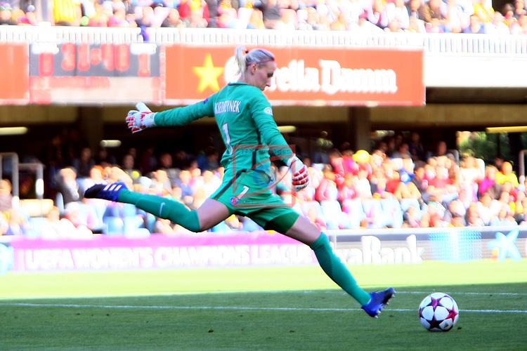 UEFA Women's Champions League 2016/2017.<br /> Semifinals.<br /> FC Barcelona vs Paris Saint Germain: 1-3.<br /> Katarzyna Kiedrzynek.