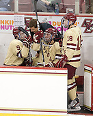Barry Almeida (BC - 9), Bert Lenz (BC - Trainer), Steven Whitney (BC - 21), Michael Sit (BC - 18) - The Boston College Eagles defeated the visiting University of New Hampshire Wildcats 4-3 on Friday, January 27, 2012, in the first game of a back-to-back home and home at Kelley Rink/Conte Forum in Chestnut Hill, Massachusetts.
