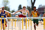FARGO, ND - MAY 13: Jay Cooper from the University of South Dakota clears a hurdles to the finish line in the men's 110 meter hurdle Saturday at the 2017 Summit League Outdoor Track Championship at the Ellig Sports Complex in Fargo, ND. (Photo by Dave Eggen/Inertia)
