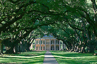 Mississippi River. Oak Alley Plantation, a famous 1839 Greek Revival house, is accessed from the river via a driveway flanked by 28 giant oak trees that are about 300 years old.