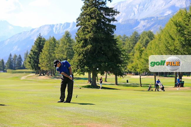 Thomas Levet (FRA) during Wednesday's Pro-Am Day of the 2013 Omega European Masters held at Crans Montana Golf Club, Crans-Sur-Sierre Switzerland. 4th September 2013.<br /> Picture: Eoin Clarke www.golffile.ie