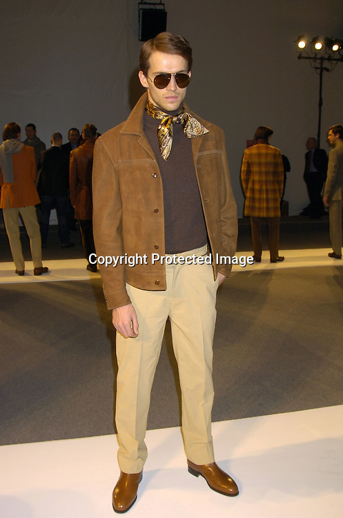 Models at Perry Ellis Fashion Show ..at The Perry Ellis Menswear Show on February 4, 2005 ..at Olympus Fashion Week in Bryant Park in New York City. ..Photo by Robin Platzer, Twin Images