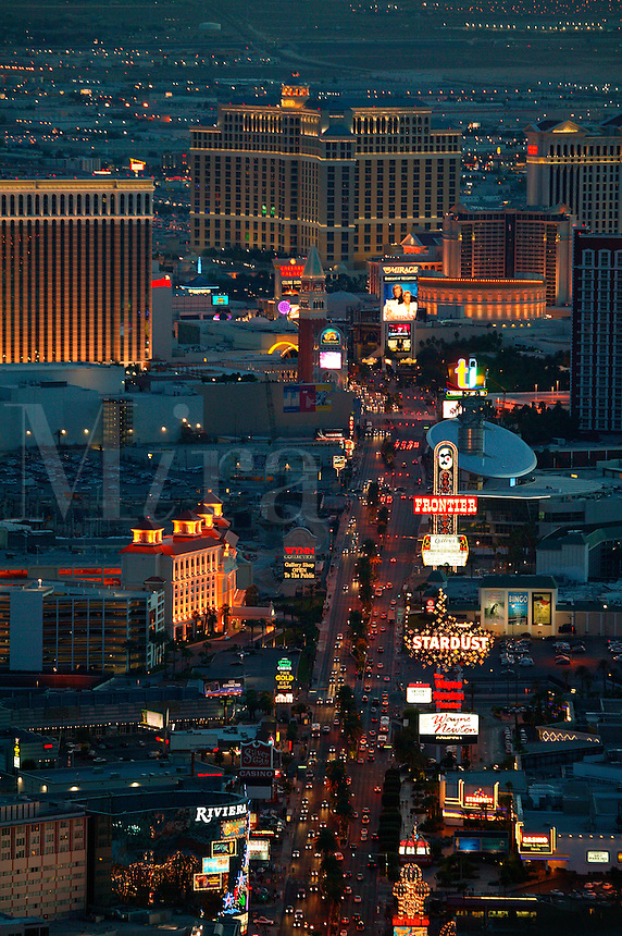 View of Vegas from the top of the Stratosphere Hotel and Casino, Las Vegas, Nevada.