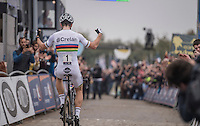 World Champion Wout Van Aert (BEL/Crelan-Vastgoedservice) wins on top of the Koppenberg &amp; takes his 3rd consecutive win in the Koppenbergcross<br /> <br /> 25th Koppenbergcross 2016