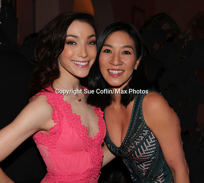 Meryl Davis poses with Michelle Kwan - The 11th Annual Skating with the Stars Gala - a benefit gala for Figure Skating in Harlem - honoring Meryl Davis & Charlie White (Olympic Ice Dance Champions and Meryl winner on Dancing with the Stars) and presented award by Tamron Hall on April 11, 2016 on Park Avenue in New York City, New York with many Olympic Skaters and Celebrities. (Photo by Sue Coflin/Max Photos)