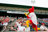Louie plays the air guitar for a fan during a game against the Tulsa Drillers at Hammons Field on June 27, 2011 in Springfield, Missouri. (David Welker / Four Seam Images)