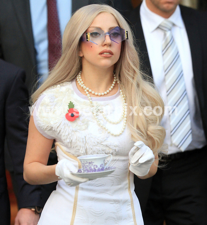 **ALL ROUND PICTURES FROM SOLARPIX.COM**                                             **WORLDWIDE SYNDICATION RIGHTS**                                                                                  Caption: American pop singer Lady Gaga seen leaving the Lanesborough Hotel in London to go to The X Factor singing contest today.                                                                            This pic:  Lada Gaga                                                                                            JOB REF:14182        WMB       DATE: 13.11.2011                                                           **MUST CREDIT SOLARPIX.COM OR DOUBLE FEE WILL BE CHARGED**                                                                      **MUST AGREE FEE BEFORE ONLINE USAGE**                               **CALL US ON: +34 952 811 768 or LOW RATE FROM UK 0844 617 7637**