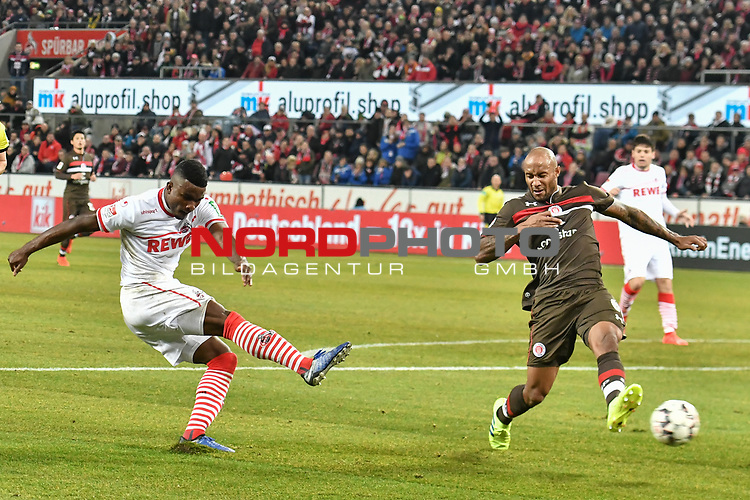 08.02.2019, Rheinenergiestadion, K&ouml;ln, GER, DFL, 2. BL, VfL 1. FC Koeln vs FC St. Pauli, DFL regulations prohibit any use of photographs as image sequences and/or quasi-video<br /> <br /> im Bild Jhon Cordoba (#15, 1.FC K&ouml;ln / Koeln) (li.) schiesst auf das Tor vor Christopher Avevor (#6, FC St. Pauli) (re.)<br /> <br /> Foto &copy; nph/Mauelshagen