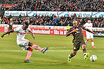 08.02.2019, Rheinenergiestadion, Köln, GER, DFL, 2. BL, VfL 1. FC Koeln vs FC St. Pauli, DFL regulations prohibit any use of photographs as image sequences and/or quasi-video<br /> <br /> im Bild Jhon Cordoba (#15, 1.FC Köln / Koeln) (li.) schiesst auf das Tor vor Christopher Avevor (#6, FC St. Pauli) (re.)<br /> <br /> Foto © nph/Mauelshagen