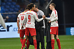 16.03.2019, VELTINS-Arena, Gelsenkirchen, GER, DFL, 1. BL, FC Schalke 04 vs RB Leipzig, DFL regulations prohibit any use of photographs as image sequences and/or quasi-video<br /> <br /> im Bild Schlussjubel / Schlußjubel / Emotion / Freude / der Mannschaft von Leipzig<br /> <br /> Foto © nph/Mauelshagen