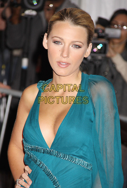 BLAKE LIVELY .2009 Metropolitan Museum of Art Costume Institute Benefit celebrating the opening of The Model as Muse: Embodying Fashion held at the Metropolitan Museum of Art, New York, NY, USA, 4th May 2009..half length green blue teal sheer dress cleavage hand on hip tanned see through .CAP/ADM/AC.©Alex Cole/AdMedia/Capital Pictures